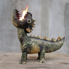 Ceramic dragon oil lamp by HomeyCreatures on Etsy