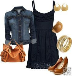 Cute casual style idea. Navy sundress with medium wash jean jacket and gold/wooden accessories. By PrettyPins
