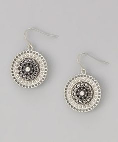 Love this Silver & Hematite Medallion Drop Earrings on #zulily! #zulilyfinds