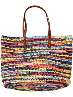 Women's Multi-Stripe Straw Totes Product Image