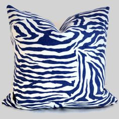 Brunschwig and Fils Periwinkle Animal Print Pillow Cover 20x20, $70