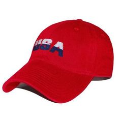 USA Needlepoint Hat in Red by Smathers & Branson #$0-to-$50 #All-Hats #hats
