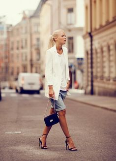 White blazer over shorts