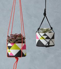These pretty planters with a mod geometric spin make wonderful gifts! Change the colors to your favorites for a whole new look. From designer Kyle McCoy. Hama Beads Design, Diy Perler Beads, Perler Bead Art, Fun Arts And Crafts, Arts And Crafts Projects, Bead Crafts, Pearler Bead Patterns, Perler Patterns, Iron Beads