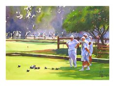 Andy Evansen Watercolors Lawn Bowlers