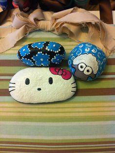 Hello kitty painted rock