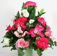 Spring Cemetery Vase Flower Arrangement Featuring White Roses and Hot Pink Peoni