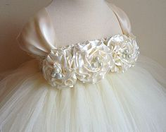 Items similar to Flower Girl Dress Tutu Dress in Ivory and Rose Nb-18m Vintage Inspired on Etsy