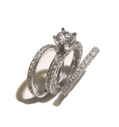 Three Ring Antique Style Wedding Ring Set