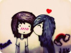Emo Kiss love cute kiss emo couple relationship illustrations
