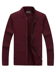 cd1ed7e601 Men's Casual Stand Collar Zip up Knitted Cardigan Sweaters Pockets  >>>