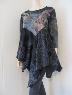 Boho Tunic Cotton Knit Dragon Priestess Eco-Chic Mythical