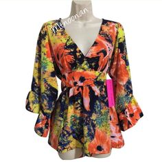 "Med Betsey Johnson Apricot Floral Boho Kimono Top NEW WITH TAGS Authentic Betsey Johnson Apricot Multicolored Floral Boho Kimono Top  ALSO AVAILABLE IN SMALL and LARGE  Approximate Measurements:  • Size: Medium • Bust: 40"" • Waist: 38"" • Length: 28""  • Hem: 48"" • Sleeve length: 21"" • 3/4 Bell Sleeves • Waist Tie • Material: 100% Polyester  • Style: Bohemian/Kimono   I have more BETSEY JOHNSON for sale, Check out my other items!    ❌ NO TRADES  FOLLOW ME ON INSTAGRAM @MARIANNOONAN Betsey…"
