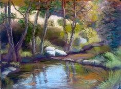 Stream pastels painting.  Veronique BEC  http://poussieresdepastels.blogspot.com