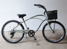 Dress Your Bike   Cruiser 7D in Putty with Black Linear Mesh Headset Mount Basket and Delivery Tote Bag