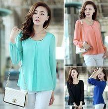 2014 New Fashion Hot Sale Plus Size Casual Long Sleeve Chiffon Blouse Shirts For Women F4279(China (Mainland))