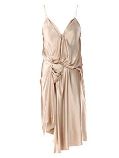 Delicate draping makes this #nude spaghetti #silk #dress by #Lanvin an elegant evening piece.