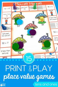 Place value games for your first grade students are a fun way to revise and practice tens and ones. Perfect for math centers and aligned to the common core. #placevalue #tensandones #yearone #mathcenters #firstgrade