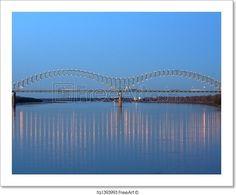 """I-40 interstate through hernando de soto bridge in memphis, tn"" - Art Print from FreeArt.com"