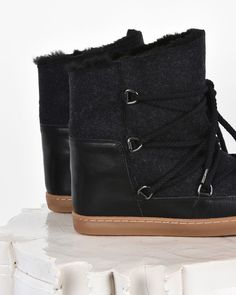 """Nowles Leather and wool wedge heel """"snow boot"""" trainers"""