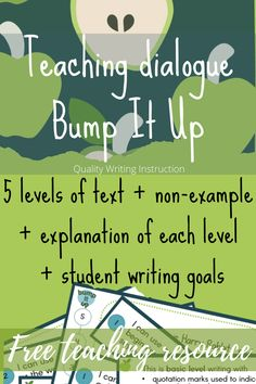 Free bump it up resource for teachers in Years 3-6 - teach students how to improve a piece of narrative text using dialogue + writing goals. #teachingwriting #teachers #narrativewriting #bumpitupwall Dialogue Writing, Writing Goals, Narrative Writing, Teaching Writing, Teacher Resources, How To Know, Bump, Quotations, Students