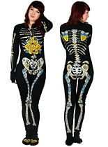 OMG! This is the best thing ever. Sugar Skeleton Footed Pajamas at PLASTICLAND