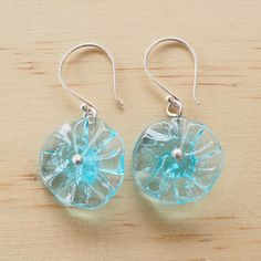 Recycled Glass Bead Earrings. Beads made from a Bombay sapphire gin bottle