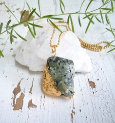 Items similar to Prehnite Raw Gemstone Necklace - Dipped in Gold - Layering Necklace on Etsy Diy Jewelry, Jewellery, Unique Jewelry, Gemstone Necklace, Pendant Necklace, Raw Gemstones, Dog Tag Necklace, Handmade Gifts, Gold