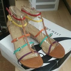 Nine west sandals Multi color straps. Gladiator style. Low cork wedge. Back zip closure. Worn 2x. Nine West Shoes Sandals