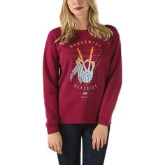The Tiny Ghost Crew Sweatshirt is a 60% cotton, 40% polyester crewneck fleece pullover with front graphics. Model is 5 feet 9 inches tall and wearing a size Small.