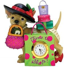 WL SSWL13389 Time To Shop Chihuahua Shopaholic Mini Clock Figurine 4 *** Be sure to check out this awesome product.