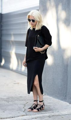 50 Minimalist Fashion Outfits to Copy - all black ensemble with a side split midi skirt and gladiator sandals