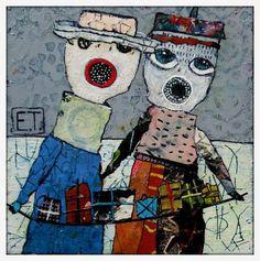 Elke Trittel acrylics,collage on board Art Du Collage, Surreal Collage, Collage Artists, Art Journal Inspiration, Painting Inspiration, Pop Art, Art Fantaisiste, Art Carte, Creation Art