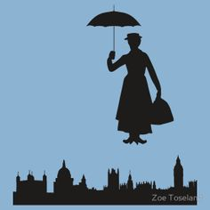 cute background silouhette Mary Poppins""