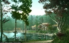 A lakeside resort in Japan with a collection of boats moored up by the shoreline...