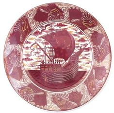 William De Morgan ~ Ruby and copper lustre charger ~ With a galleon at sail to the well ~ The sail decorated with a bear and stars ~ The rim a band of scaly fish before scrolling water By Charles Passenger