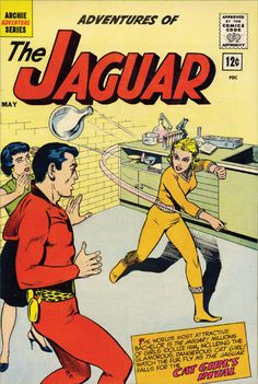 """The nearly-all-powerful superhero The Jaguar – suave, sophisticated, mustachioed and frequently referred to in his own book as """"the world's most attractive bachelor"""" – has more than mere villainy to contend with. He also has to deal with his mortal enemies developing a major crush on him. Cat Girl, an ancient Egyptian demigoddess possessed of amazing powers, is only one of three of the Jaguar's phalanx of femmes fatale who can't decide between killing and kissing him."""