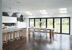 Clair and Simon Wills extended the rear of the property to change their galley kitchen into a contemporary open-plan kitchen-diner. After an electrical fire in 2013, the couple had to re-decorate their extended kitchen, finally achieving their dream space