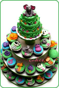 Zoo Party Cupcake Tower by Natty-Cakes (Natalie), via Flickr