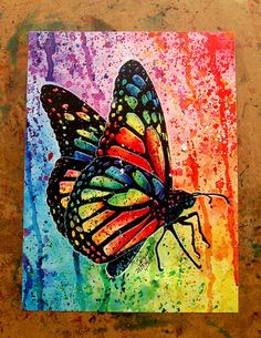 Art Print Butterfly Rainbow Pop Art Splatter Portrait Colorful Bright Edgy Nature Decor or Kunstdruck Schmetterling Regenbogen Pop Art Splatter Portrait bunt hell nervös Natur Dekor 5 x 8 x 10 oder 11 x 14 Butterfly Painting, Butterfly Art, Butterflies, Pop Art, Art Mural Papillon, Art Sketches, Art Drawings, Art Impressions, Easy Paintings