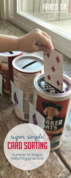 This fun card sorting activity is super simple to DIY with upcycled oatmeal containers. Your preschooler will love sorting by number, color, and shape!
