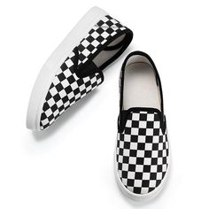 Go with the glow!; These kicks glow in the dark. FEATURES; Glow in the dark slip-on sneakers; White insole and outsole; Black elastic gore on each side of tongue• Black and white checkerboard design• Black piping trim around foot opening and vamp• Glows in the dark• Easy on/off• No laces• Sizes 11-13, 1-3 available• Half sizes, order one size up• Black/white combo available only• Run true-to-size• Bottom of sh...