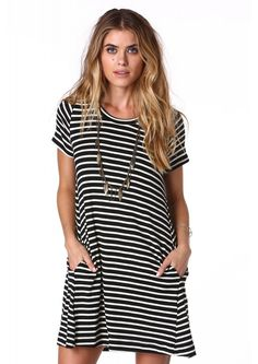 Lush Casual Fridays Mini Dress in Black/white   Necessary Clothing