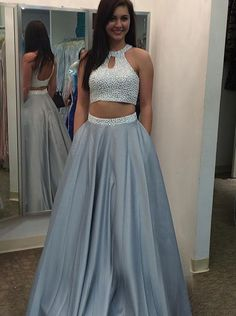 Beaded Two Pieces Satin Sexy Prom Dress-Long Halter Neck Backless Evening Dress