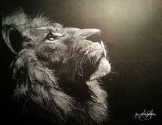 "white coloured pencil on black paper ""Lion"""