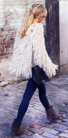 Mary Seng Feathered friend cardigan from Free People, Boots Pedro Garcia and Jeans from J. Brand.