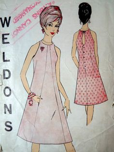 Vintage 1960s British Weldons 8391 sewing pattern  Awesome design with an A line shaped panel front, narrow shoulders and a button back with a key