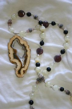 brown agate necklace by wazkastudio on Etsy, zł85.00