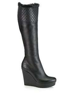 Gucci - GG Leather Fur-Lined Wedge Boots