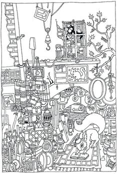 Fez The Squirrel Adult Colouring Page
